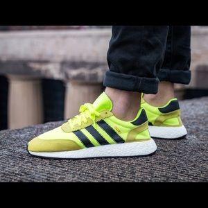 New Adidas Iniki Runner Solar Yellow Mens Sz 9